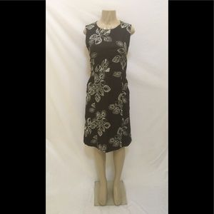 Monsoon Sz 8 Brown W/White Embroidered Leafs Dress